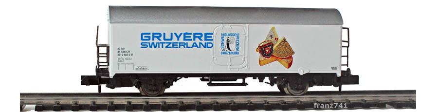 Arnold-0237-2-Schweizer-Kaese-Set-Kuehlwagen-SBB-GRUYERE
