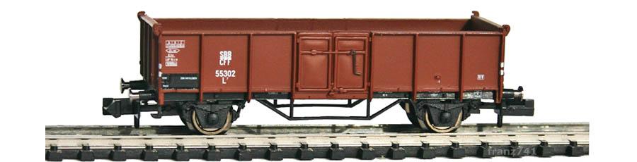 Arnold-Hornby-6002-Hochbord-Gueterwagen-SBB-braun