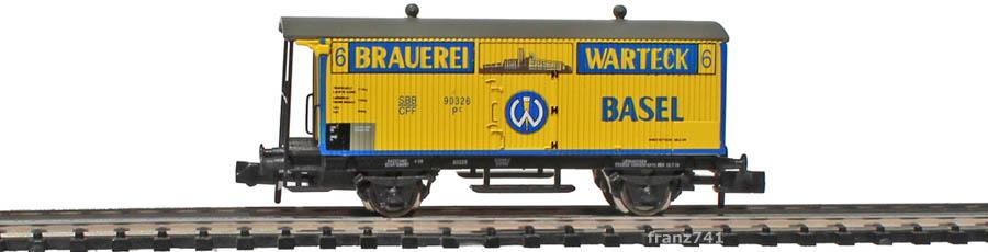 Arnold-Hornby-6019-Gueterwagen-Set-SBB_Brauerei-Warteck-Basel