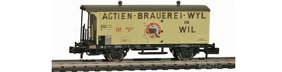 Arnold-Hornby-6020-Gueterwagen-Set-SBB_Brauerei-Wyl-Wil