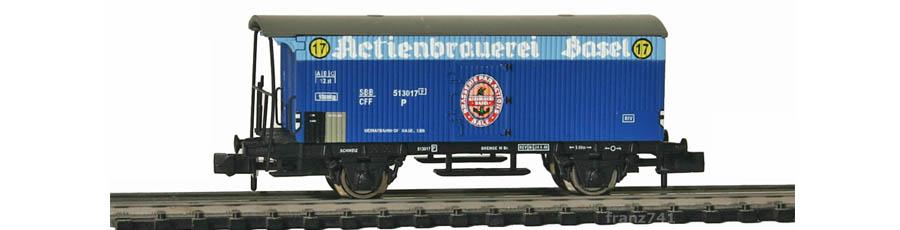 Arnold-Hornby-6030-Gueterwagen-Set-SBB-Actienbrauerei-Basel