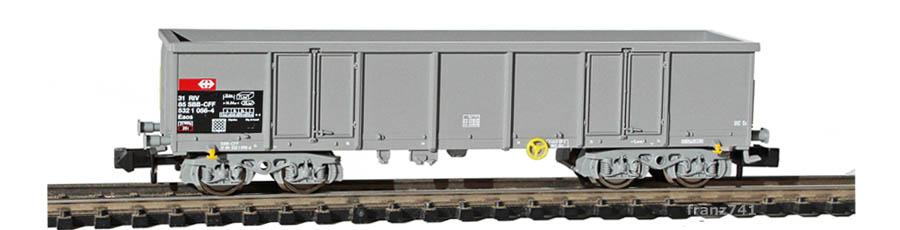 Fleischmann-8283-13-Eaos-Hochbordwagen-SBB-grau