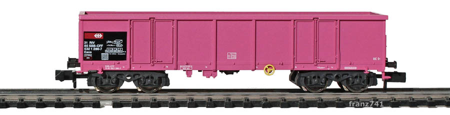 Fleischmann-8283-36-Eaos-Hochbordwagen-SBB-pink