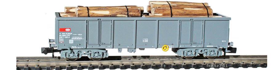 Fleischmann-8283-8706-Hochbordwagen-SBB-grau-Baumstaemme-Ladung
