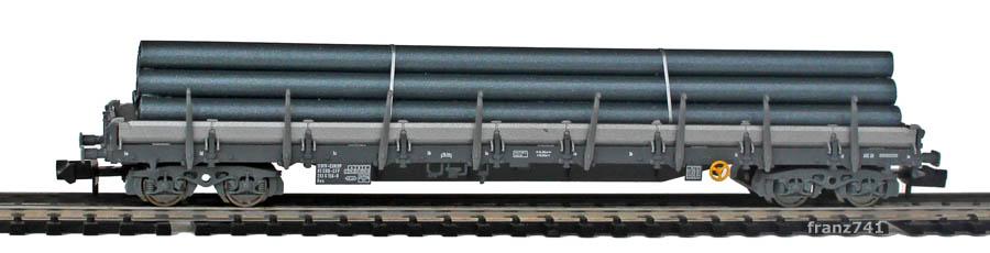 Fleischmann-8287-01-1-Rungenwagen-SBB-grau-Roehren-Ladung