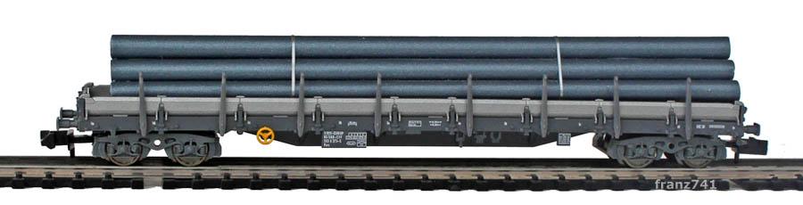 Fleischmann-8287-01-2-Rungenwagen-SBB-grau-Roehren-Ladung
