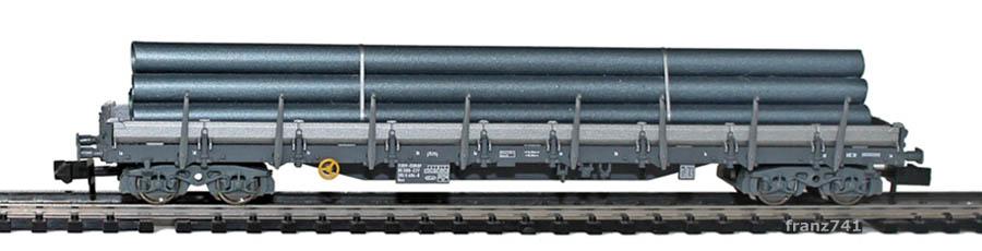 Fleischmann-8287-01-3-Rungenwagen-SBB-grau-Roehren-Ladung