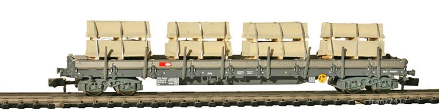 Fleischmann-8287-8702-Rungenwagen-SBB-grau-Betonelemente