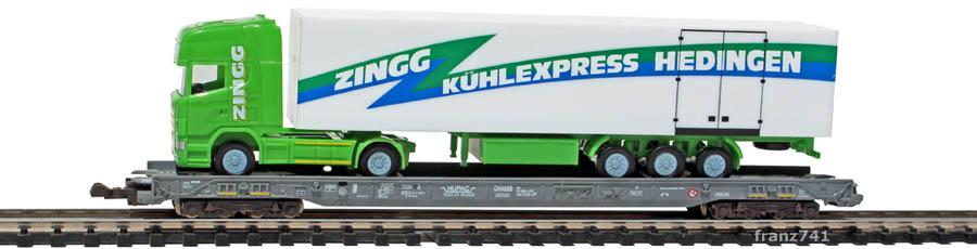 Fleischmann-90-8271-HUPAC-Zwischen-Niederflurwagen-SBB-Herpa-LKW-Zingg