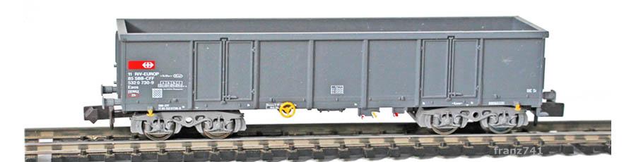 Fleischmann-93-8283-4-Hochbordwagen-SBB-grau