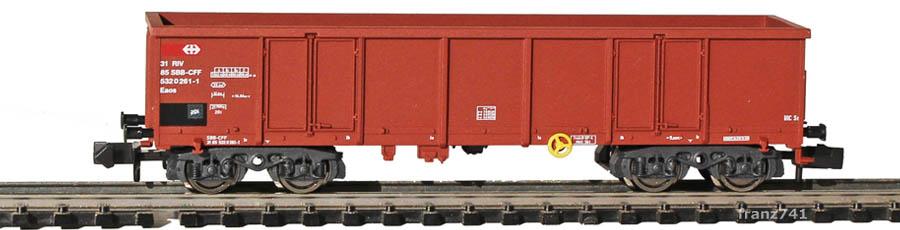 Fleischmann-9316-81-4-Eaos-Hochbordwagen-SBB-braun