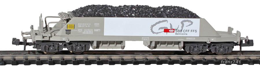 Hobbytrain-23051-1-Xas-Neuschotterwagen-SBB-GUP-Bellinzona