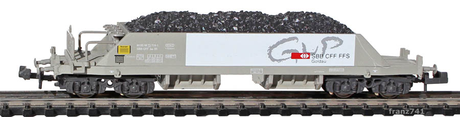 Hobbytrain-23051-2-Xas-Neuschotterwagen-SBB-GUP-Goldau