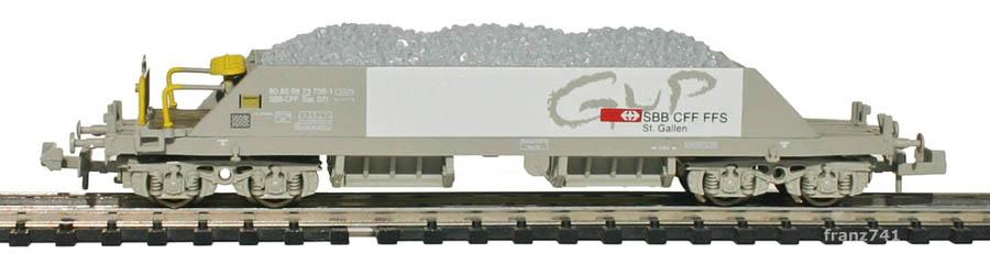 Hobbytrain-23052-2-Xas-Neuschotterwagen-SBB-GUP-St-Gallen