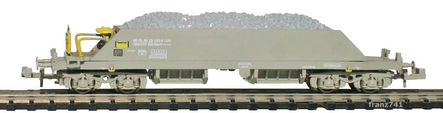 Hobbytrain-23054-1-Xas-Neuschotterwagen-SBB-grau