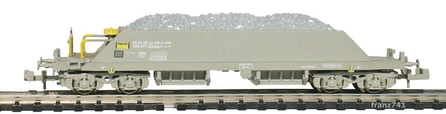 Hobbytrain-23054-2-Xas-Neuschotterwagen-SBB-grau