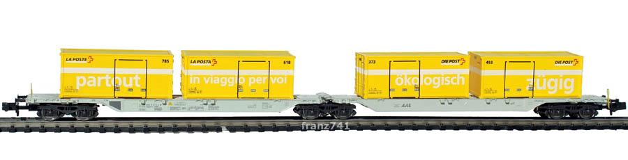 Hobbytrain-23713-Doppelgelenktragwagen-SBB-Postcontainer