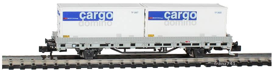 Hobbytrain-2914-2-Ks-Rungenwagen-SBB-mit-Containern-cargo-domino