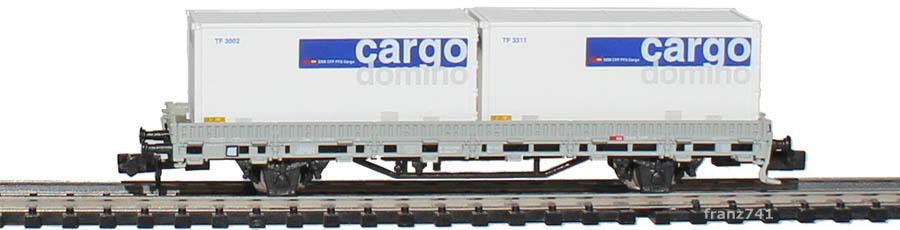 Hobbytrain-2914-3-Ks-Rungenwagen-SBB-mit-Containern-cargo-domino