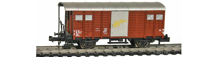 Hobbytrain-31073-Gedeckter-Gueterwagen-Haltestangen-SBB-braun-D-F
