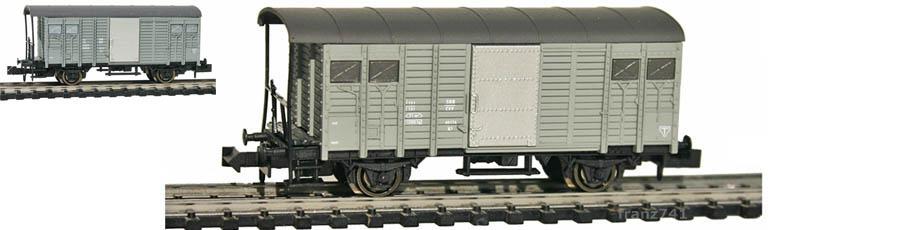 Hobbytrain-31082-Gedeckter-Gueterwagen-Haltestangen-SBB-grau