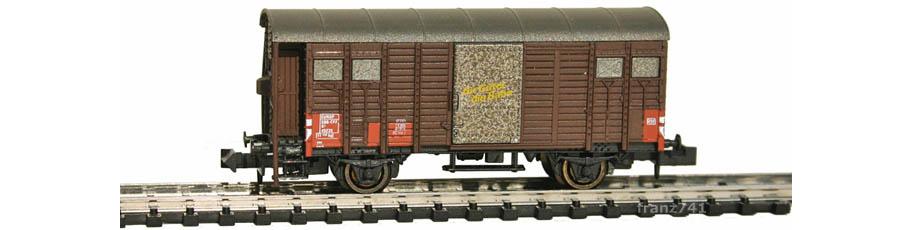 Hobbytrain-31092-Gedeckter-Gueterwagen-Bremserhaus-SBB-braun