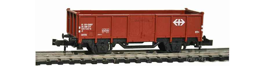 Minitrix-13585-Hochbordwagen-SBB-braun