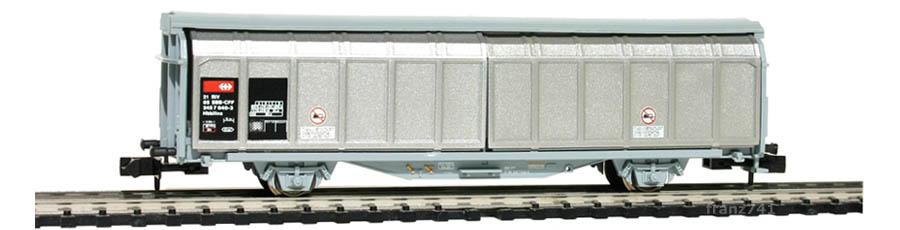 Minitrix-13628-Hbbillns-Schiebewandwagen-SBB-grau