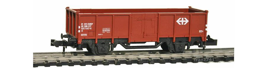 Minitrix-13871-Hochbordwagen-SBB-braun