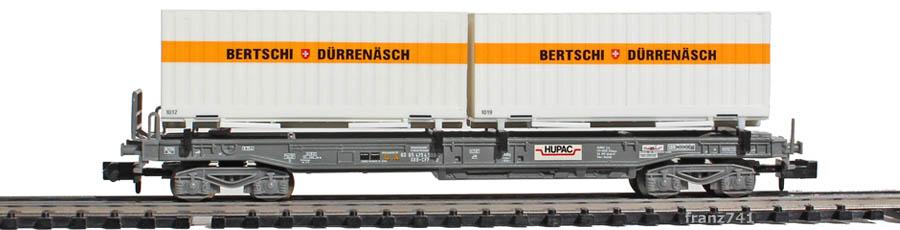 Minitrix-15045-2-sdkmms-Taschenwagen-Set-SBB-Container-Bertschi-Duerrenaesch