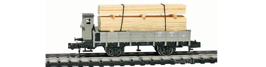 Minitrix-15175-Holztransportwagen-Set-SBB-60651-mit-Bremserhaus