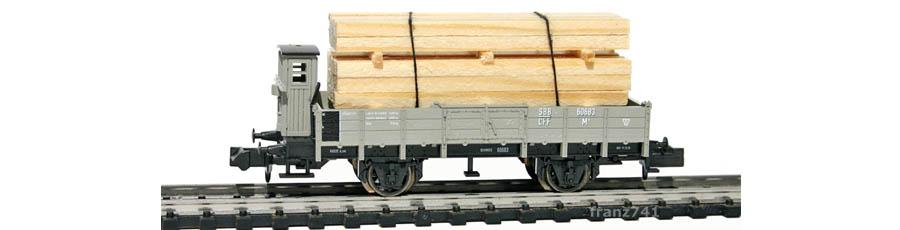 Minitrix-15175-Holztransportwagen-Set-SBB-60683-mit-Bremserhaus