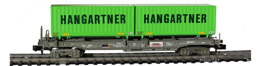 Minitrix-15276-2-Sdgmss-HUPAC-Taschenwagen-Set-SBB-HANGARTNER-Container