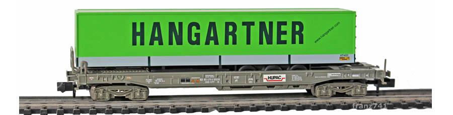 Minitrix-15276-4-Sdgmss-HUPAC-Taschenwagen-Set-SBB-HANGARTNER-Sattelauflieger