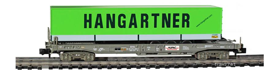 Minitrix-15276-5-Sdgmss-HUPAC-Taschenwagen-Set-SBB-HANGARTNER-Sattelauflieger