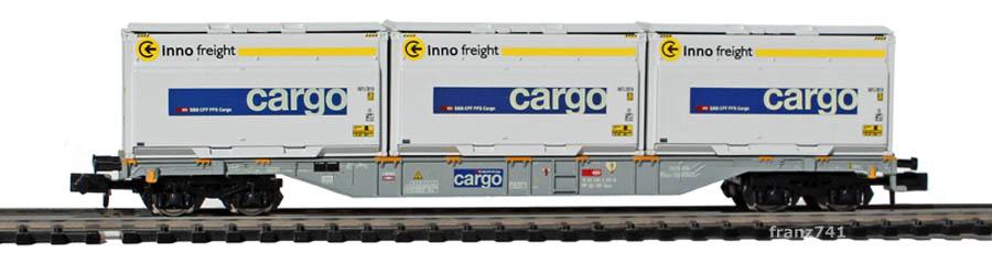 Minitrix-15522-Sgnss-Tragwagen-Woodtainer-cargo-Inno-freight
