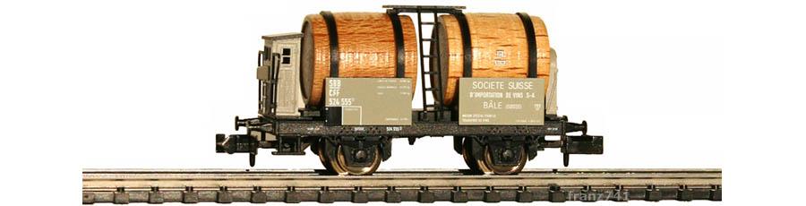 Minitrix-15600-Weinfasswagen-SBB-SOCIETE-SUISSE-BALE