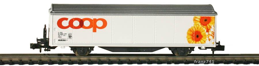 Minitrix-15605-Coop1-Hbils-Schiebewandwagen-Coop-Sonderserie-Sonnenblumen