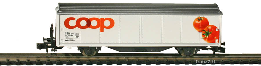 Minitrix-15605-Coop2-Hbils-Schiebewandwagen-Coop-Sonderserie-Tomaten
