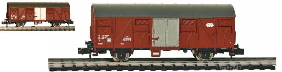 Minitrix-15644-19-24-Gedeckter-Gueterwagen-SBB-braun