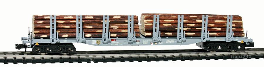 Minitrix-15647-Rungenwagen-mit-Holz-SBB-grau