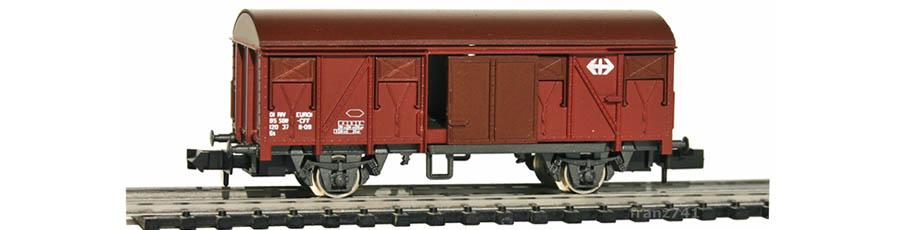 Rivarossi-9324-Gedeckter-Gueterwagen-braun-SBB