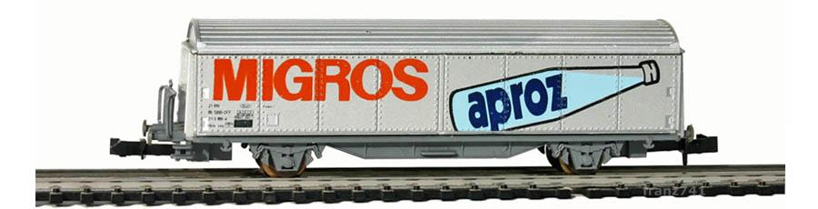 Roco-25061-Hbis-Schiebewandwagen-MIGROS-Aproz-SBB