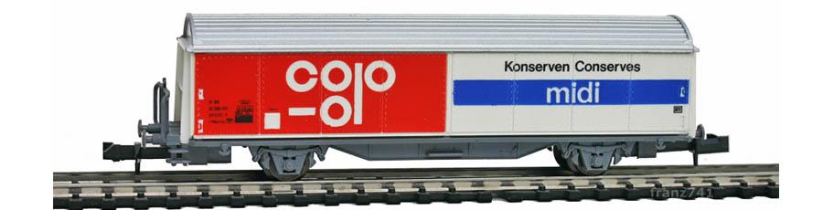 Roco-25068-Hbis-Schiebewandwagen-coop-midi-Konserven-SBB