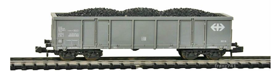Roco-25126-V1-Eaos-Hochbordwagen-grau-SBB-Kohleladung