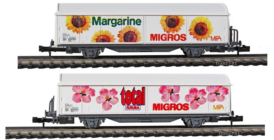 Roco-25172-Hbils-Schiebewandwagen-MIGROS-MARGARINE-TOTAL-SBB