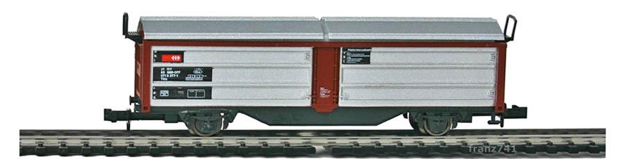 Roco-25226-Tbis-Dach-Schiebewandwagen-braun-silber-SBB
