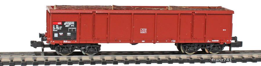 Roco-25351-Eaos-Hochbordwagen-braun-SBB-Holzladung
