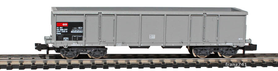 Roco-25387-Eaos-Hochbordwagen-grau-SBB-Kohleladung