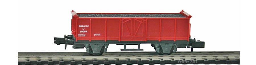 Swisstoys-32-L7-Hochbordwagen-braun-SBB-Kohle-Ladung